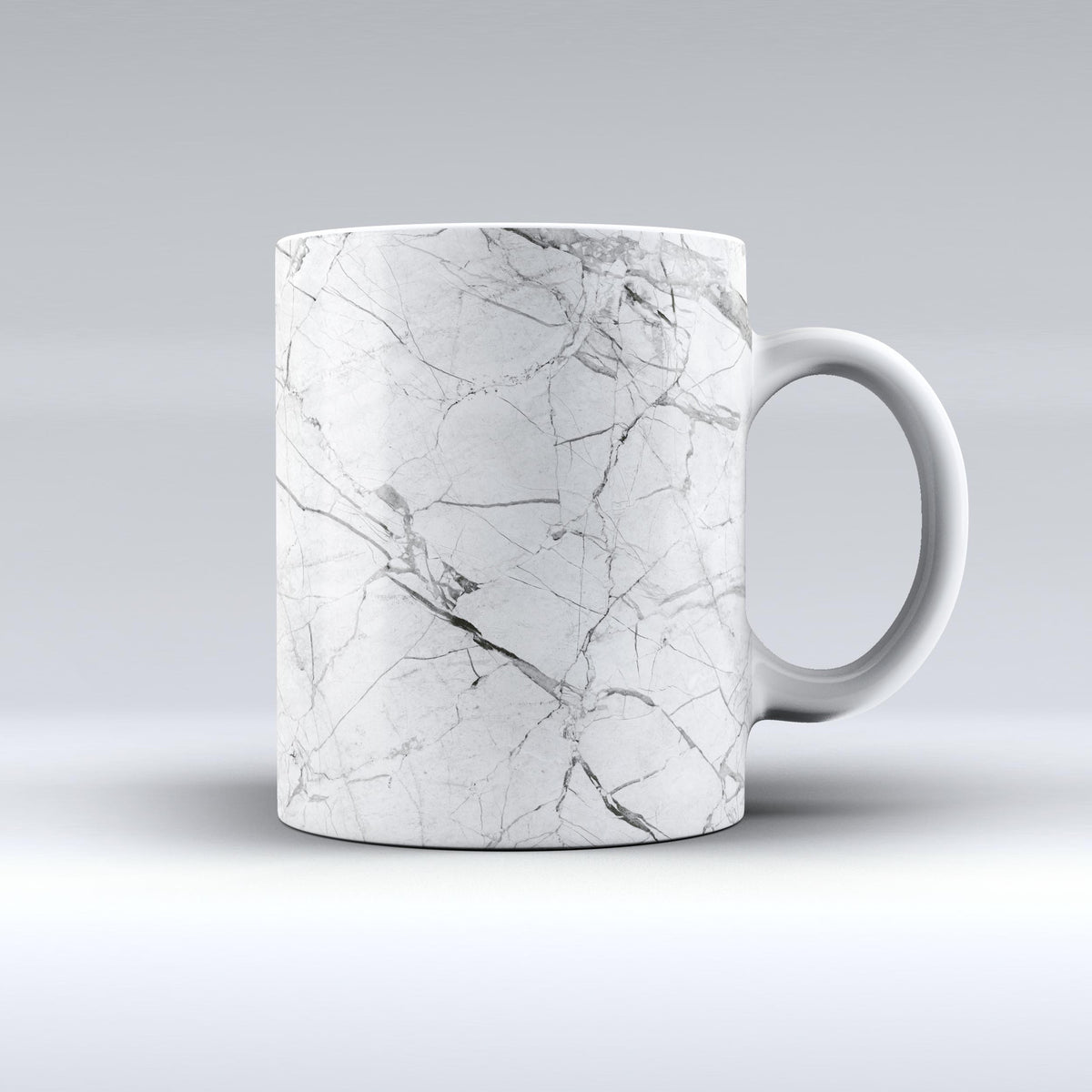 The Cracked White Marble Slate Ink Fuzed Ceramic Coffee