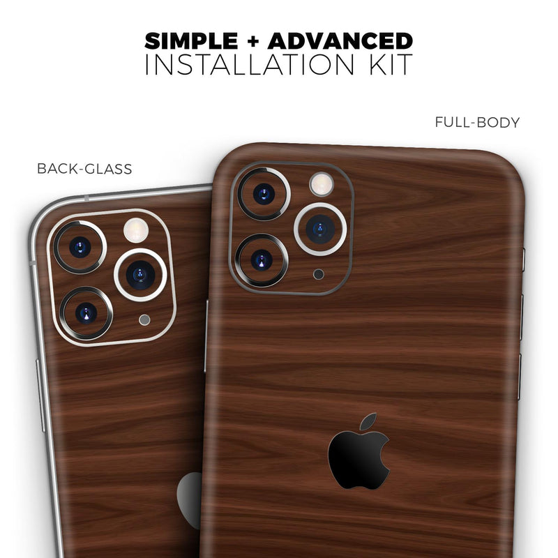 Dark Brown Wood Grain - Skin-Kit for the Apple iPhone 11, 11 Pro or 11 Pro Max