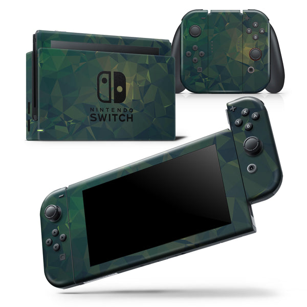 Dark Green Geometric V12 - Skin Wrap Decal for Nintendo Switch Lite Console & Dock - 3DS XL - 2DS - Pro - DSi - Wii - Joy-Con Gaming Controller
