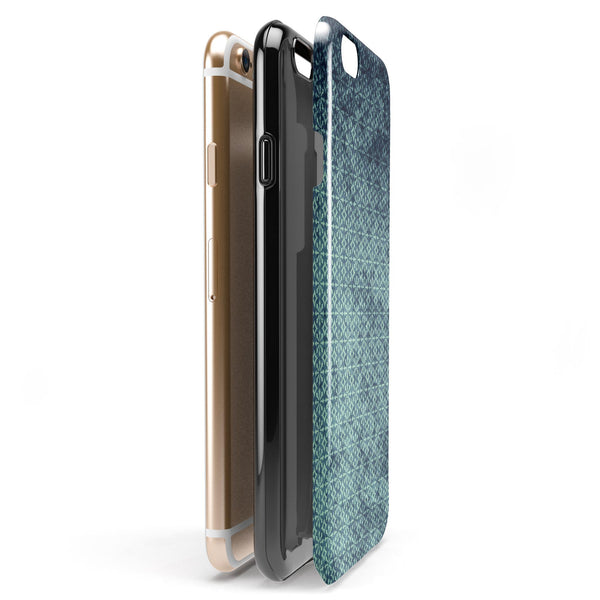 Dark Grungy Teal Micro Snowflake Pattern iPhone 6/6s or 6/6s Plus 2-Piece Hybrid INK-Fuzed Case