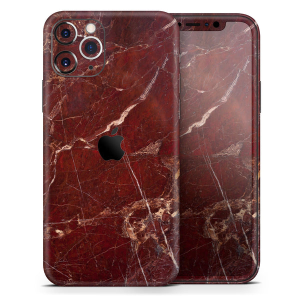 Dark Red Natural Marble Surface - Skin-Kit for the Apple iPhone 11, 11 Pro or 11 Pro Max