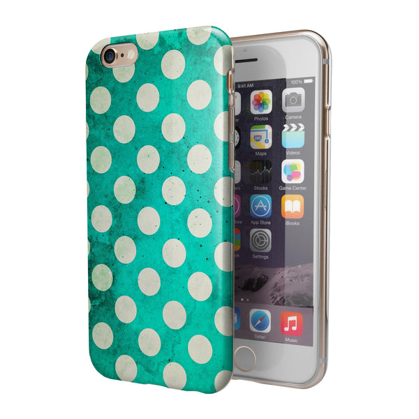 Dark Teal and White Polka Dots Pattern iPhone 6/6s or 6/6s Plus 2-Piece Hybrid INK-Fuzed Case