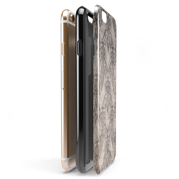 Decadent Draped Damask Pattern iPhone 6/6s or 6/6s Plus 2-Piece Hybrid INK-Fuzed Case