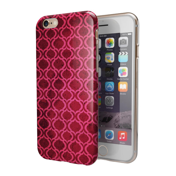 Deep Fuschia Oval Pattern iPhone 6/6s or 6/6s Plus 2-Piece Hybrid INK-Fuzed Case