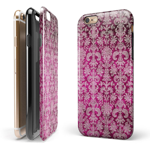 Deep Magenta Damask Pattern iPhone 6/6s or 6/6s Plus 2-Piece Hybrid INK-Fuzed Case