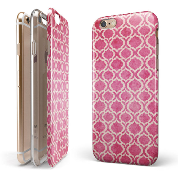 Deep Pink Bubble Morrocan Pattern iPhone 6/6s or 6/6s Plus 2-Piece Hybrid INK-Fuzed Case