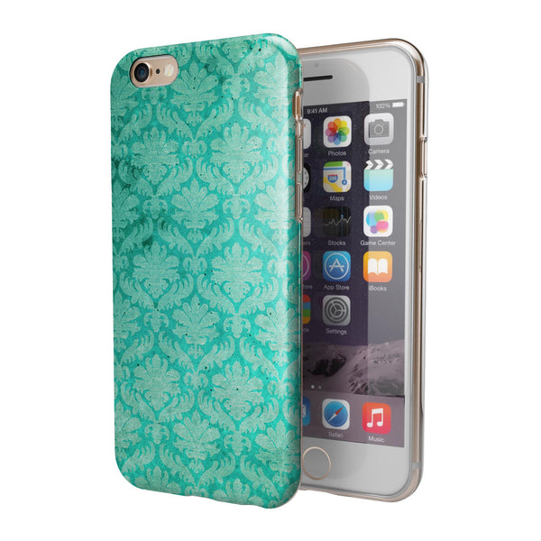 Deep Teal Luxury Pattern iPhone 6/6s or 6/6s Plus 2-Piece Hybrid INK-Fuzed Case