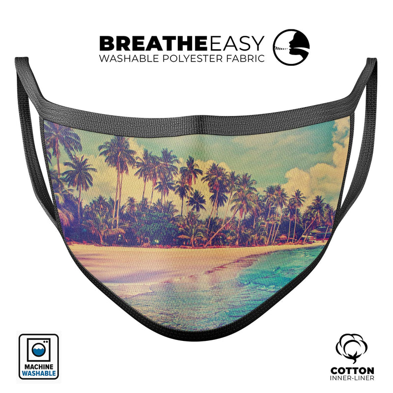 Dreamy Beach - Made in USA Mouth Cover Unisex Anti-Dust Cotton Blend Reusable & Washable Face Mask with Adjustable Sizing for Adult or Child
