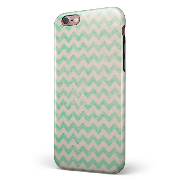 Faded Aqua Chevron Pattern iPhone 6/6s or 6/6s Plus 2-Piece Hybrid INK-Fuzed Case