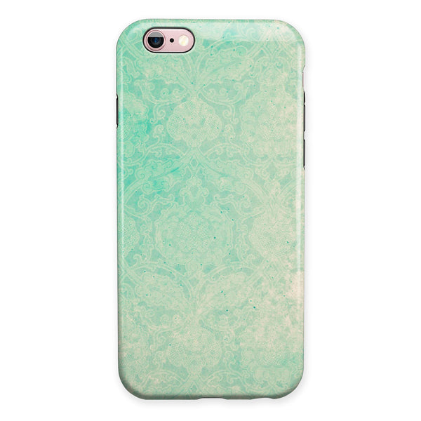 Faded Aqua Rococo Pattern iPhone 6/6s or 6/6s Plus 2-Piece Hybrid INK-Fuzed Case