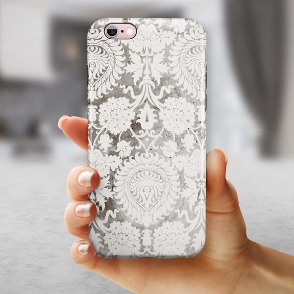 Faded Black and White Cauliflower Damask Pattern iPhone 6/6s or 6/6s Plus 2-Piece Hybrid INK-Fuzed Case