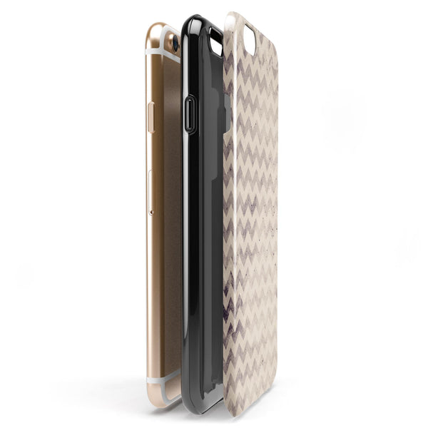 Faded Black and White Chevron Pattern iPhone 6/6s or 6/6s Plus 2-Piece Hybrid INK-Fuzed Case