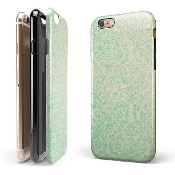 Faded Blue-Green Rococo Pattern iPhone 6/6s or 6/6s Plus 2-Piece Hybrid INK-Fuzed Case