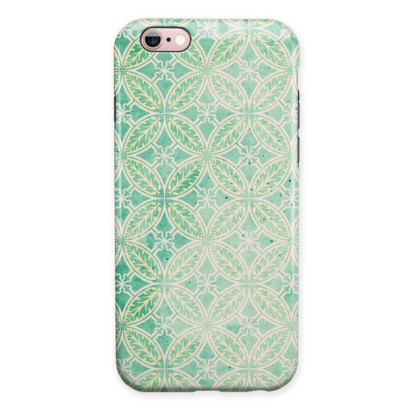 Faded Blue and Green Overlapping CIrcles iPhone 6/6s or 6/6s Plus 2-Piece Hybrid INK-Fuzed Case