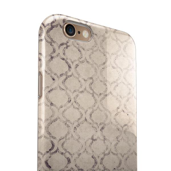 Faded Brown and Tan Oval Pattern iPhone 6/6s or 6/6s Plus 2-Piece Hybrid INK-Fuzed Case