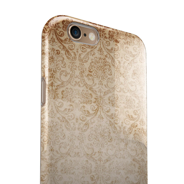 Faded Brown and Yellow Rococo Pattern iPhone 6/6s or 6/6s Plus 2-Piece Hybrid INK-Fuzed Case