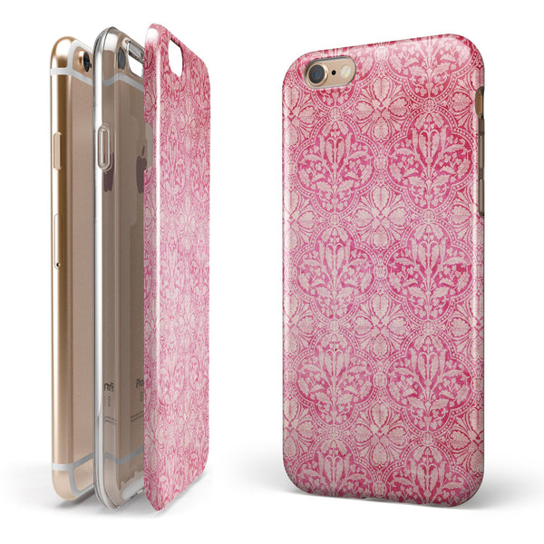 Faded Deep Pink Damask Pattern iPhone 6/6s or 6/6s Plus 2-Piece Hybrid INK-Fuzed Case