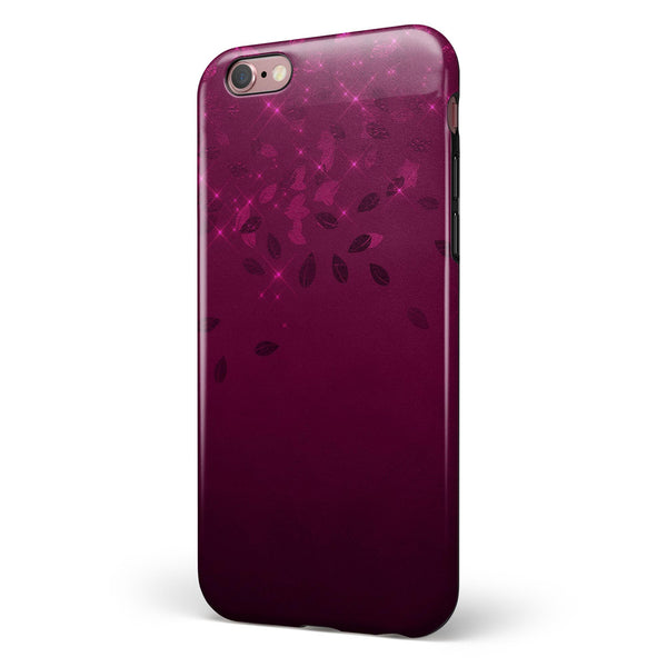 Faded Falling Leaves Of Burgundy iPhone 6/6s or 6/6s Plus 2-Piece Hybrid INK-Fuzed Case