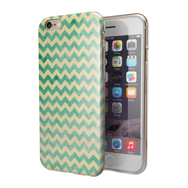 Faded Green Chevron Pattern iPhone 6/6s or 6/6s Plus 2-Piece Hybrid INK-Fuzed Case