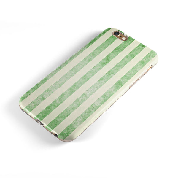 Faded Green Vertical Stripes iPhone 6/6s or 6/6s Plus 2-Piece Hybrid INK-Fuzed Case