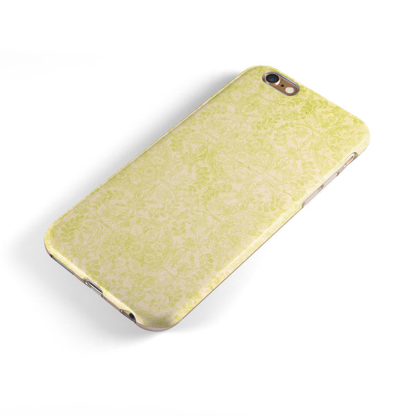 Faded Lime Damask Pattern iPhone 6/6s or 6/6s Plus 2-Piece Hybrid INK-Fuzed Case