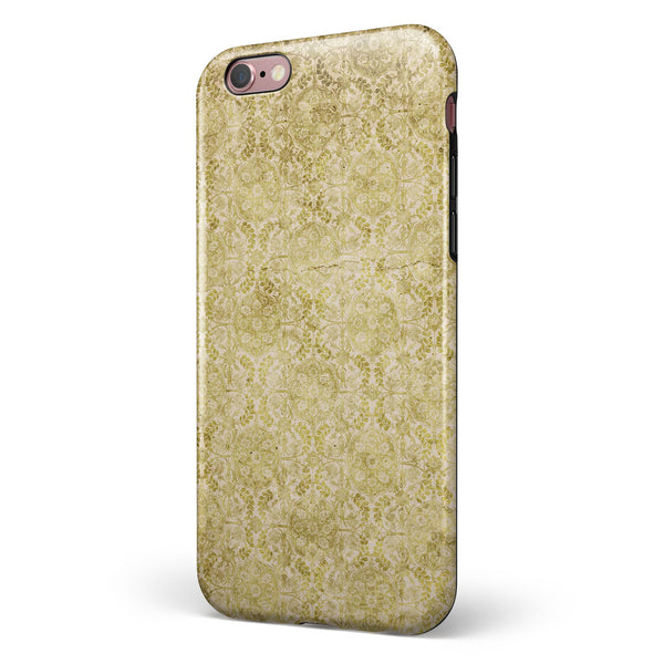 Faded Mustard Floral Damask Pattern iPhone 6/6s or 6/6s Plus 2-Piece Hybrid INK-Fuzed Case