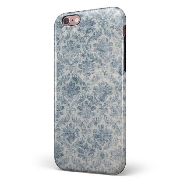 Faded Navy Floral Damask Pattern iPhone 6/6s or 6/6s Plus 2-Piece Hybrid INK-Fuzed Case