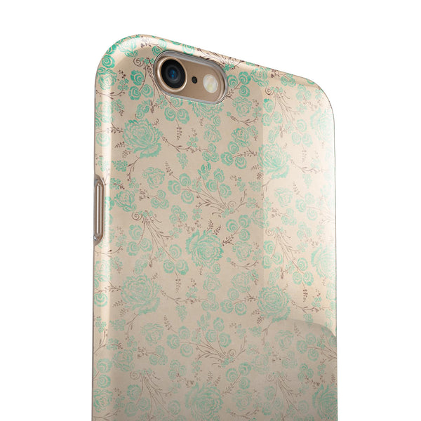 Faded Pale Teal Floral Sequence  iPhone 6/6s or 6/6s Plus 2-Piece Hybrid INK-Fuzed Case
