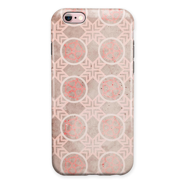 Faded Red Floral Cross Pattern iPhone 6/6s or 6/6s Plus 2-Piece Hybrid INK-Fuzed Case
