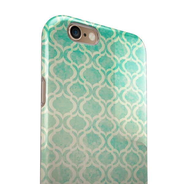 Faded Teal Oval Pattern iPhone 6/6s or 6/6s Plus 2-Piece Hybrid INK-Fuzed Case