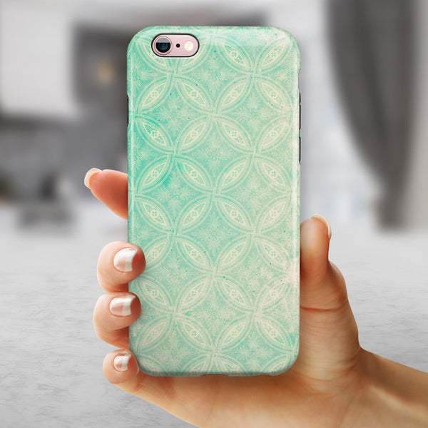 Faded Teal Overlapping Circles iPhone 6/6s or 6/6s Plus 2-Piece Hybrid INK-Fuzed Case