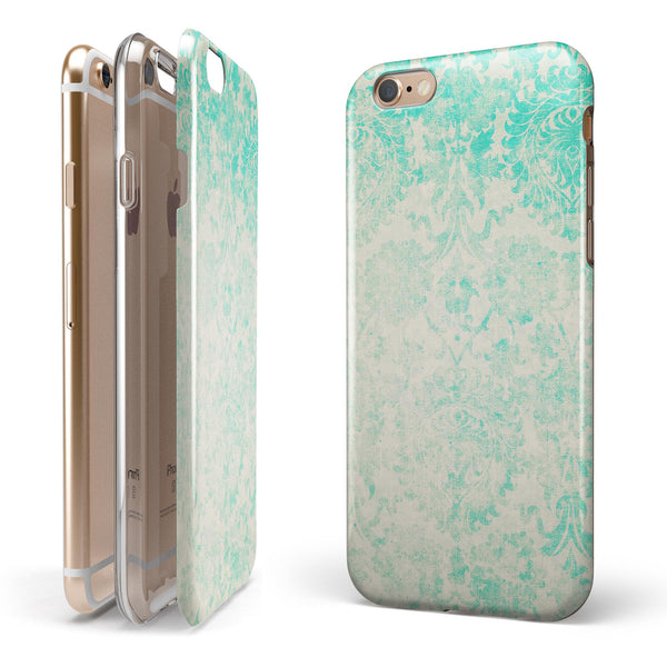 Faded Teal Pattern Of Decadence  iPhone 6/6s or 6/6s Plus 2-Piece Hybrid INK-Fuzed Case