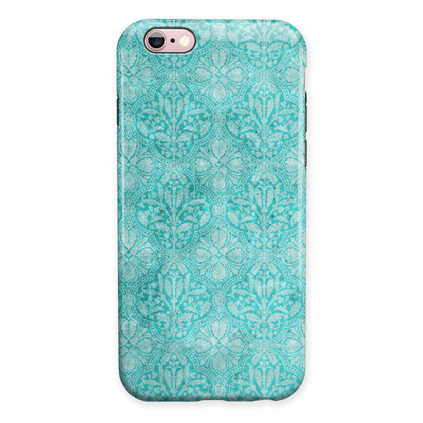 Faded Teal and Sctratched Royal Surface iPhone 6/6s or 6/6s Plus 2-Piece Hybrid INK-Fuzed Case
