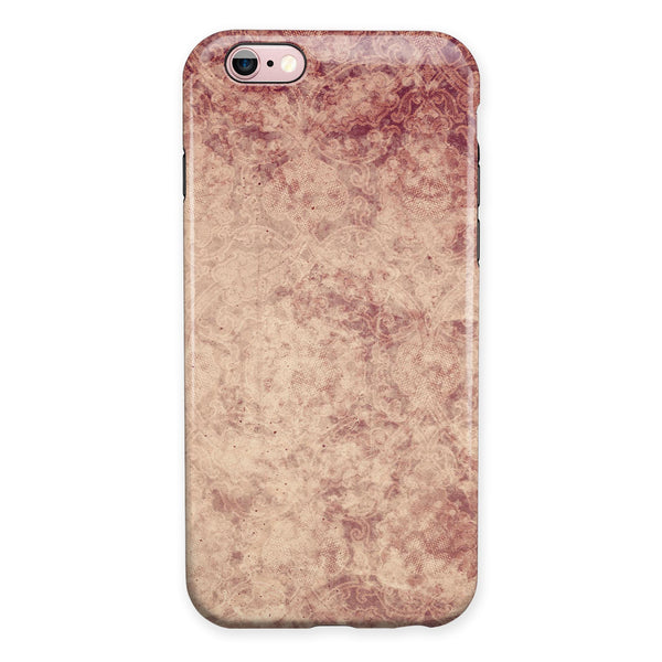 Faded Vintage Maroon Rococo Pattern iPhone 6/6s or 6/6s Plus 2-Piece Hybrid INK-Fuzed Case