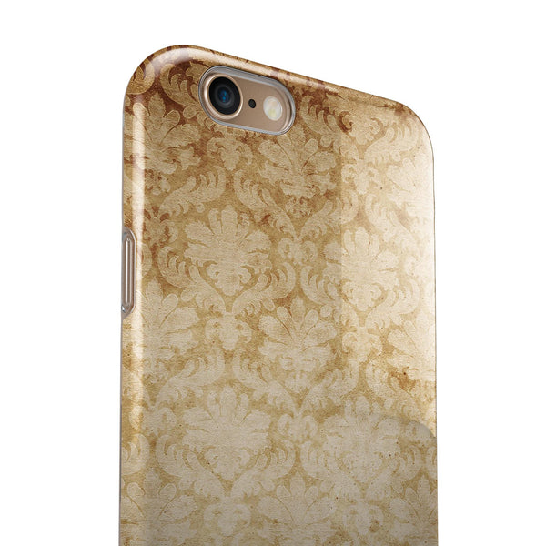 Faded Vintage Orange Rococo Pattern iPhone 6/6s or 6/6s Plus 2-Piece Hybrid INK-Fuzed Case
