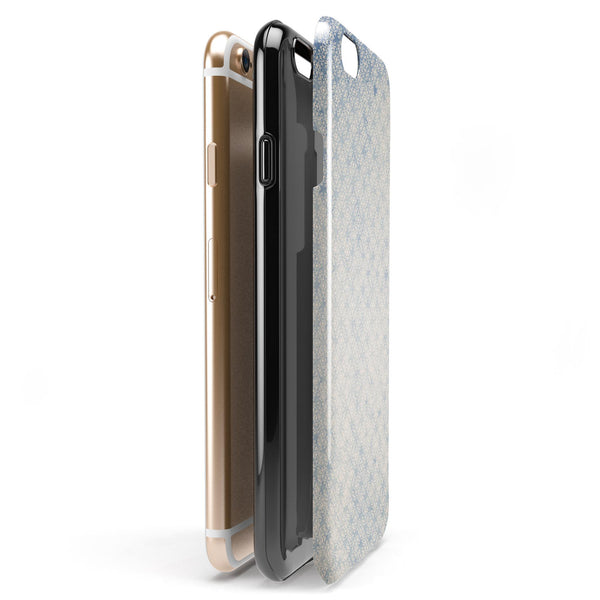 Faded White and Blue Interlocking Squares iPhone 6/6s or 6/6s Plus 2-Piece Hybrid INK-Fuzed Case