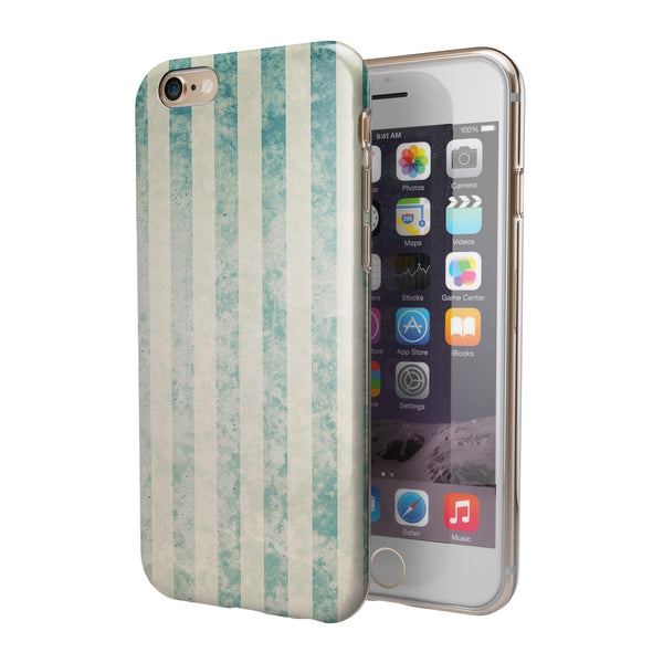 Faded White and Blue Scratched Vertival Stripes iPhone 6/6s or 6/6s Plus 2-Piece Hybrid INK-Fuzed Case
