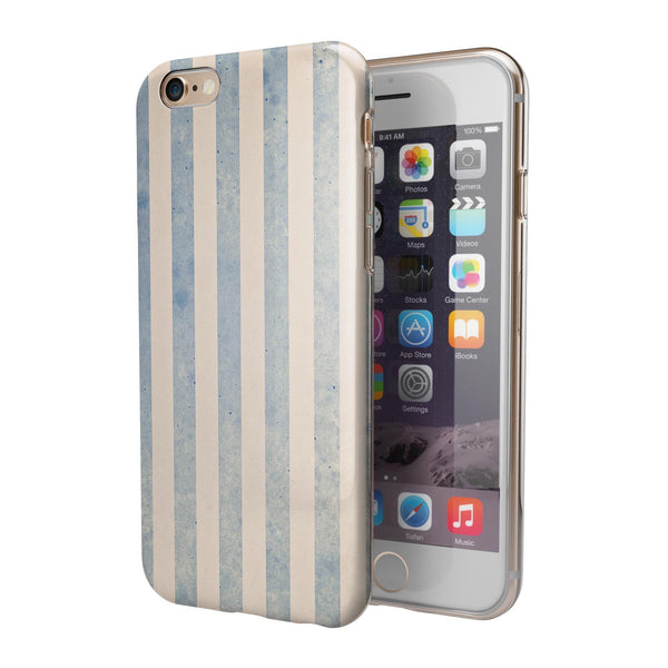 Faded White and Blue Vertical Stripes iPhone 6/6s or 6/6s Plus 2-Piece Hybrid INK-Fuzed Case