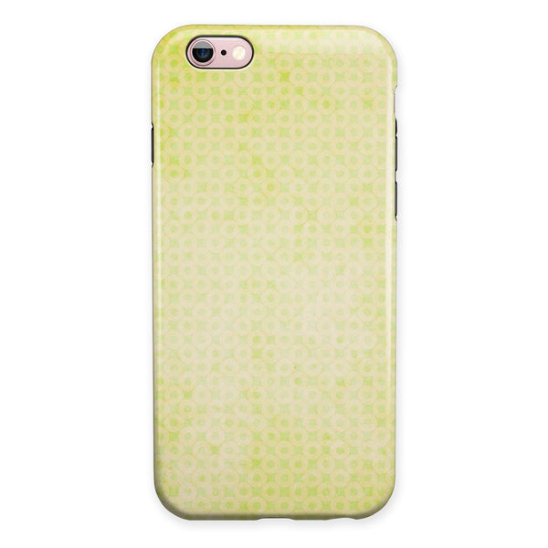 Faded Yellow Micro Grunge Dots iPhone 6/6s or 6/6s Plus 2-Piece Hybrid INK-Fuzed Case