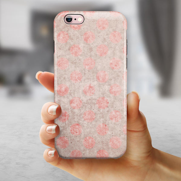 Fading Brown and Red Polkadotted Pattern iPhone 6/6s or 6/6s Plus 2-Piece Hybrid INK-Fuzed Case