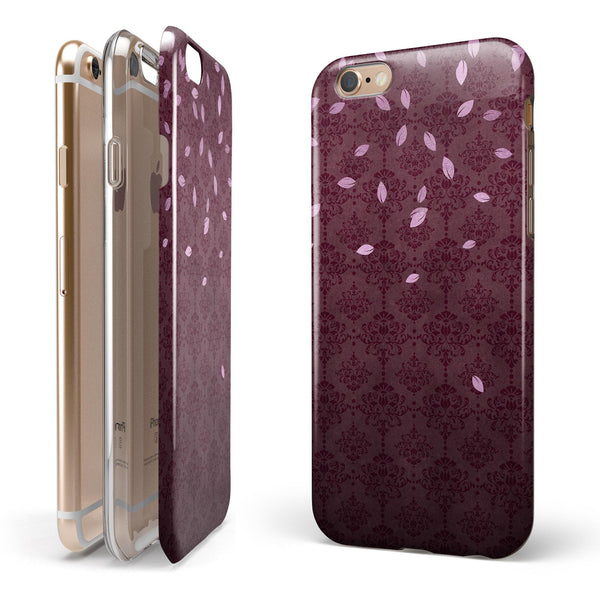 Falling Pink Petals Over royal Burgundy Pattern iPhone 6/6s or 6/6s Plus 2-Piece Hybrid INK-Fuzed Case