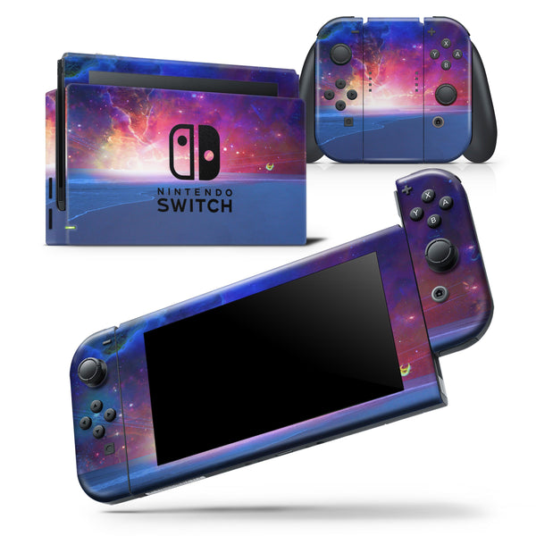 Galaxy Explosion over Calm Sea Shore - Skin Wrap Decal for Nintendo Switch Lite Console & Dock - 3DS XL - 2DS - Pro - DSi - Wii - Joy-Con Gaming Controller