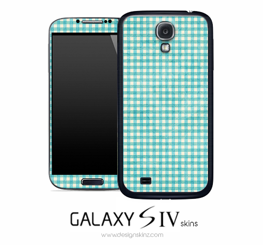 Turquoise Plaid Skin for the Galaxy S4