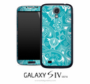 Turquoise White Floral Skin for the Galaxy S4
