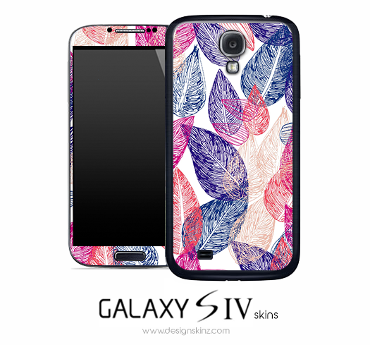 Red & Blue Leaves Skin for the Galaxy S4