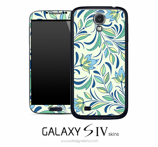 Green Blue Floral Skin for the Galaxy S4
