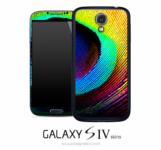 Large Neon Peacock Feather Skin for the Galaxy S4