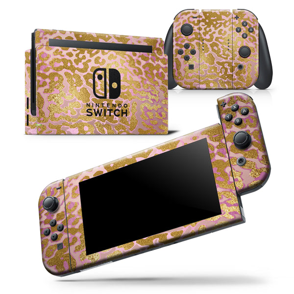 Gold Flaked Animal Pink - Skin Wrap Decal for Nintendo Switch Lite Console & Dock - 3DS XL - 2DS - Pro - DSi - Wii - Joy-Con Gaming Controller