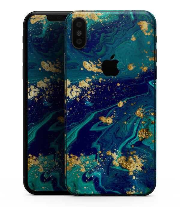 Gold Flaked Teal Oil - iPhone XS MAX, XS/X, 8/8+, 7/7+, 5/5S/SE Skin-Kit (All iPhones Available)