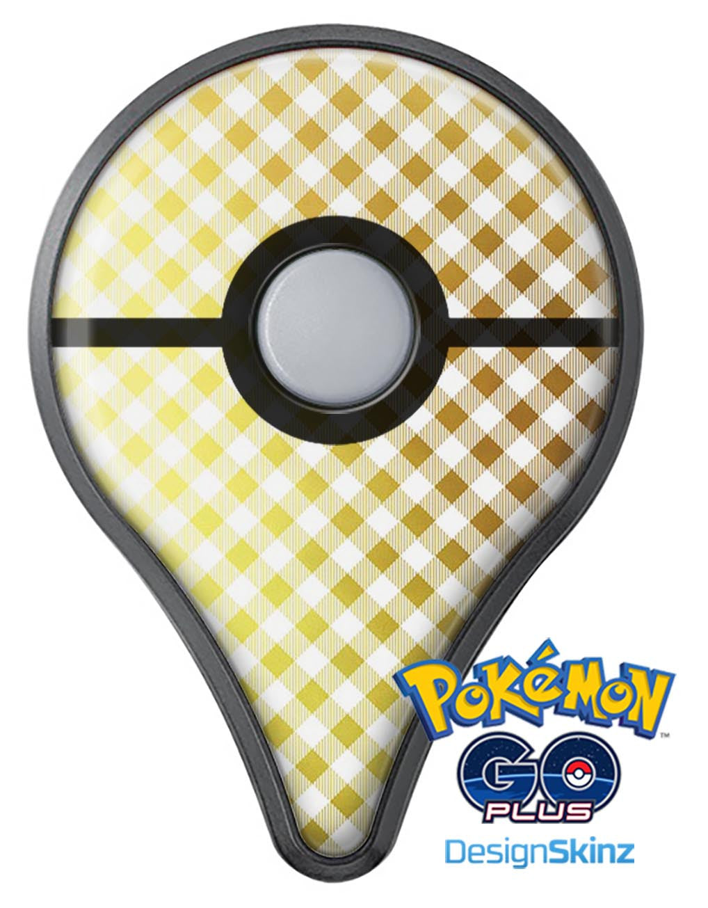 Gold And White Plaid Picnic Table Pattern Pokémon GO Plus Vinyl - White vinyl picnic table